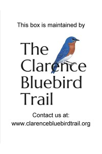 Nest box sign with Clarence Bluebird Trail Logo.